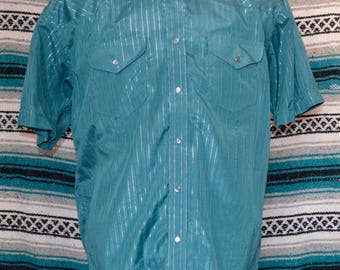 Gibson Trading Company Western Shirt Pearl Snap Turquoise Silver Striped X-Large