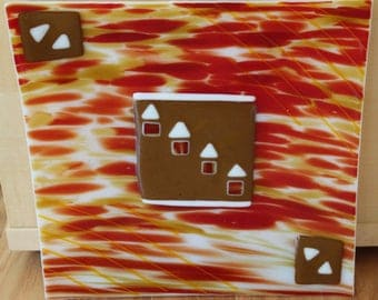 Southwest Adobe fused glass 12 x 12 platter