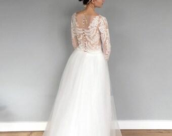 Sheer Nude Long Sleeve Lace Wedding Dress