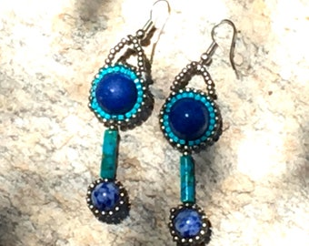 Unique Lapis and Turquoise Bead Embroidered Earrings