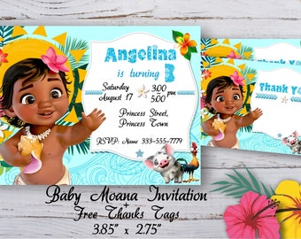 Baby Moana Invitation Baby Moana Birthday Invitation Baby Moana Invitations Baby Moana Printable Invitation Baby Moana Invitations Moana