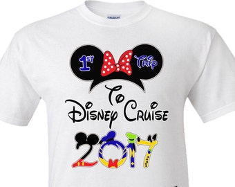 First Cruise Family Vacation 2017 Mickey & Minnie T-Shirts Disney World DISNEY trip matching all sizes