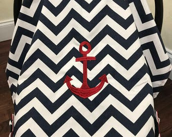 Baby Car Seat Tent,Canopy,Baby Shower Gift, Nautical Baby Shower Gift, Baby Carrier Cover, Chevron Car Seat Cover, Anchor,Baby Boy  Gift
