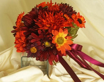 Fall Colors Bridal Bouquet, Orange Mums and Burgundy Gerbera Daisy Wedding Bouquet, Autumn Bridesmaid Bouquet, Orange and Wine Bride Bouquet