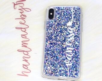 Personalized Blue Glitter Phone case iPod Touch 6th Generation Case iPod Touch 5th Generation case Personalized Gift iPhone case
