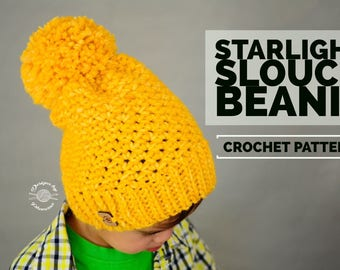 Crochet Starlight Slouch Beanie PATTERN | Crochet Pattern | Slouch Hat | Crochet Cables Pattern | Instant Download