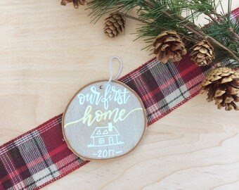 Our First Home Christmas Ornament | Holiday Decor | Christmas Gift | Rustic Home Decor | Stocking Stuffer