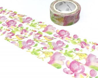 pink flower washi tape 7M pink scenery pink garden green leaf masking tape watercolor pinky scenery decor pink sticker tape gift wrapping