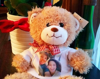 ANY TEXT - LARGE Personalised Teddy Bear with printed T-shirt. Your text or image, Personalised plush toy, baby gift baptism birthday