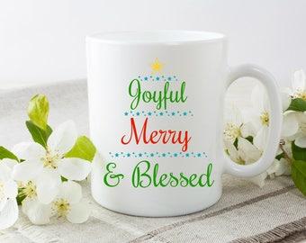 Joyful Merry and Blessed Mug | Cute Christmas Tree Gift Mug For Christmas Lovers