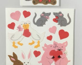 Vintage Sandylion Fuzzy Heart Animals Maxi Stickers