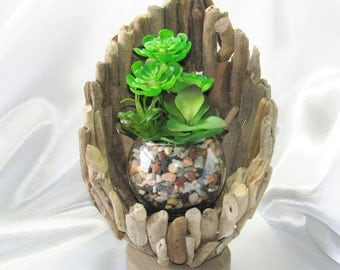 Faux Succulent Planter in Driftwood Shell, Centerpiece, Faux Succulent Arrangement, Housewarming Gift, Unique Succulent Gift