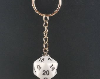 D20 Dice Dungeons & Dragons RPG Fantasy Solid White Keychain