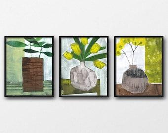 Green and Yellow Still Life Painting Set of 3 Prints, Floral Art, Botanical Print Set, Modern Wall Art, Minimalistic Art, Flower Print Set