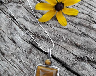 Vintage Sterling Silver Tigers Eye Necklace