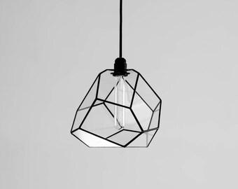 Spatial Crystallising Glass Chandelier / Geometric Pendant Lighting / Modern Retro Bulb Lamp / Industrial Style Furniture / Hanging Light