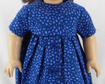 """18"""" Doll American Girl Short Sleeve Dress With Long Skirt and Buttons"""