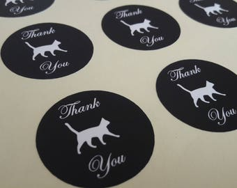 Black Cat Walk Round Thank You Self Adhesive Glossy Labels Envelope Seals Stickers Wedding Favors