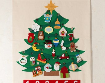Tree advent calendar. Christmas Tree calendar. Gift to children.  Made with fleece and felt .  24+1 ornaments, wall hanging with pockets