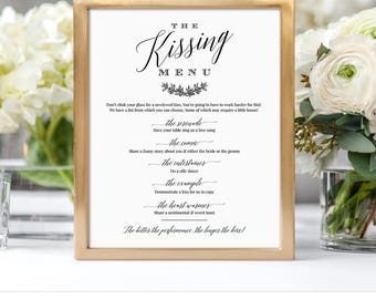 Kissing Menu Card & Wedding Kissing Menu Sign, Printable Wedding Game, 100% Editable Template, Instant Download, Templett, DIY #034-101KM