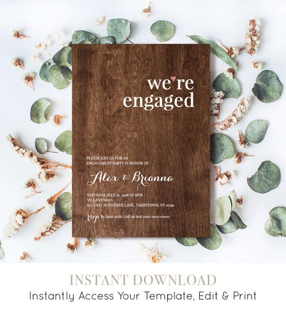 Engagement Party Invitation Template, Were Engaged Announcement, Printable, Rustic Wood Invite, Fully Editable, Instant Download #NC-106EP