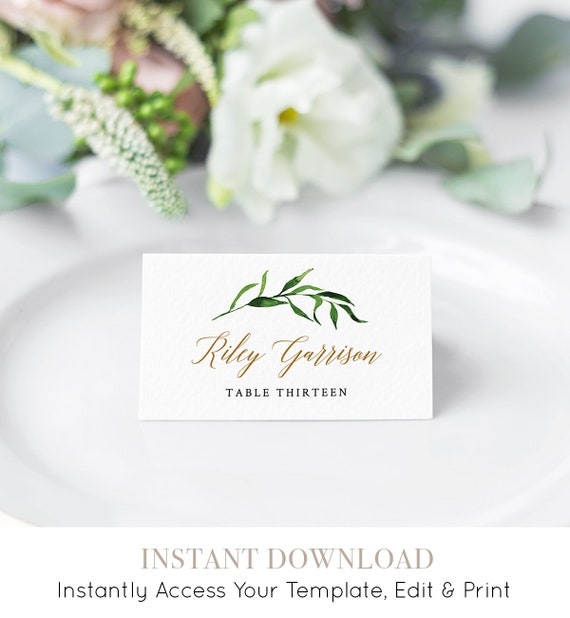 Greenery Wedding Place Card Template, Printable Escort Card, Name Card, Watercolor Seating Card, Instant Download, Fully Editable #013-104PC