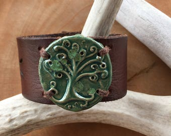 Tree of Life Leather Cuff Bracelet, Ceramic and Leather, Handmade, One of a Kind, Rustic