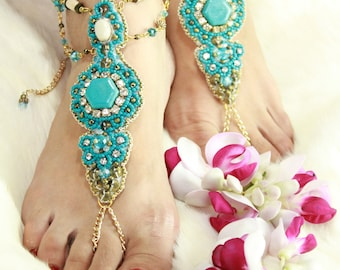 "Barefoot Sandals for Beach or Shoes ""Sand and Turquoise"""