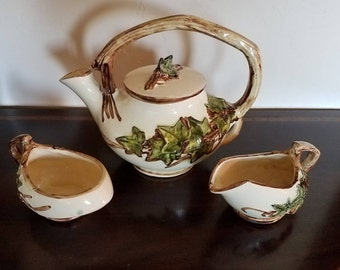 McCoy Ivy Teapot with Sugar and Creamer