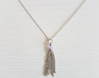 Delicate Chain Tassel Necklace in 16k Silver/Lavender