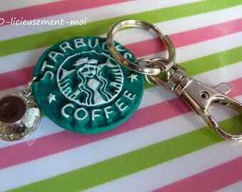 Keychain bag snap silver token starbucks coffee coffee polymer clay and cup coffee America new york