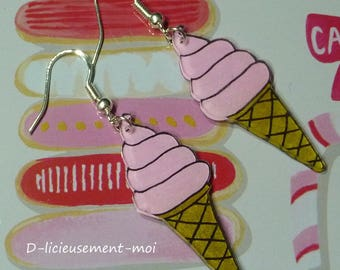 Earrings in sterling silver 925 cone ball ice pink ice cream plastic crazy crazy cream summer ice cone