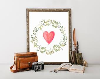 Heart Print, heart printable, heart painting, heart art, heart artwork, heart wall decor, heart wall art, heart, prints, printable, wall art