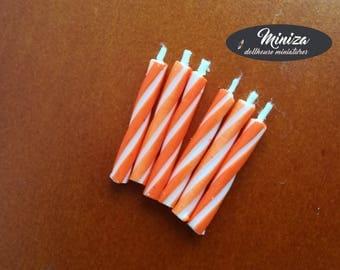 Miniature orange candles, 1:12 scale