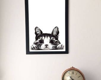 Framed Little Cat Drawing, Unusual Artwork Print, Laying Cat Picture, A4/A3 Black and White Image