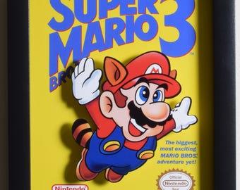Super Mario Bros 3 Shadow Box - Box Art - NES - Nintendo - 3D Shadow Box Glass Frame - 12x10 - Christmas Gift - Video Game Wall Art