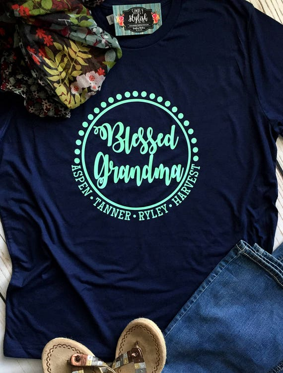 Blessed Mimi Nana Grammy Shirt Grandma T Shirt Personalized
