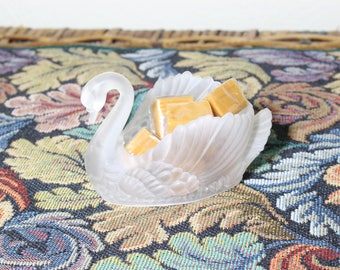 Miniature Plastic Swan with Flowers, Mini Planter for Jungalow, Candy Dish, Hong Kong