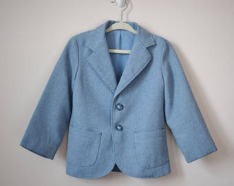 Vintage Boy's Blazer Jacket Size 4 / 70s 80s Powder Blue Polyester Tweed Sears Blazer / Vintage Kids Clothes / Vintage Clothing