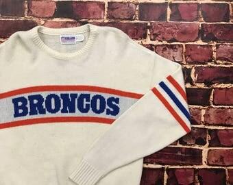 Vintage 80s Denver Broncos Cliff Engle Sweater Denver Broncos Wool Knit Sweater Mens Small NFL Proline