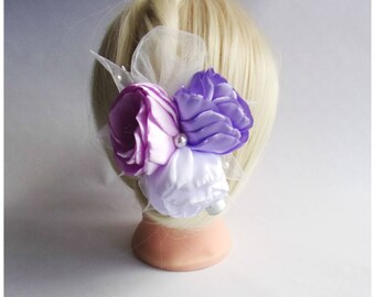 Satin Flower Hairclip/Hairclip with Roses Kanzashi /Satin Hair accessory/Wedding Hair clip