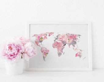 Floral Map Print, Printable wall art, Art print, World map print, Chic art, Modern art print, Chic art, Elegant art, Map, travel gift