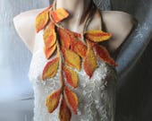 Felt scarf,Felt leaves lariat,Felt belt,Felt scarf with leaves,Wearable art,Felted leaf  ,Original Belt,Felted scarflette,Leaves garland