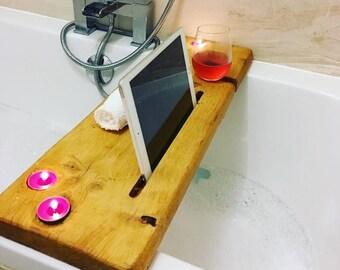 Bath Tray / Bath Caddy handmade with reclaimed wood