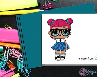 LOL Surprise teachers pet Notes / Girl Stationery /LOL Girl Stationery Set / Set of 12