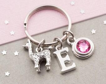 Llama keychain, personalized llama keyring, custom keychain, birthstone keyring, initial keychain, animal keychain, llama gift, alpaca charm
