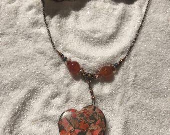 Jasper Heart Stone Pendant Necklace, Orange mix