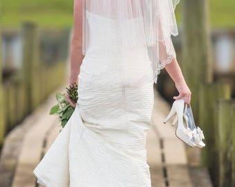 4/ Ivory Pleated  Silk Wedding Dress / Sheath Wedding Dress / Ivory / Beaded Trim Cuff Bodice / Gown / Sweep Train / 4 / Gorgeous /