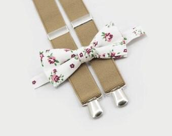 Floral Bow Tie & Tan Suspenders, Cake Smash Outfit, Boys Bow Tie Suspenders