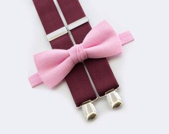 10% OFF Pink Bow Tie, Burgundy Suspenders Groomsmen Bow Tie Suspenders  Ring Bearer Outfit